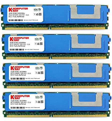 Komputerbay 16GB (4X4GB) DDR2 PC2-6400F 800MHz ECC Fully Buffered FB-DIMM (240 PIN) 16GB w / Wärmeverteilern