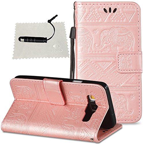 Hülle für Samsung Galaxy A3 (2015) A300 Leder Hülle, SchutzHülle Wallet Flip für Samsung Galaxy A3 (2015) A300, Case Glitter SchutzHülle Flip Wallet Case Hülle Magnet Leder Hülle für -Rose Gold