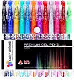 Glitter Gel Pens from Color Technik, Set of 12 Professional Artist Quality Pens