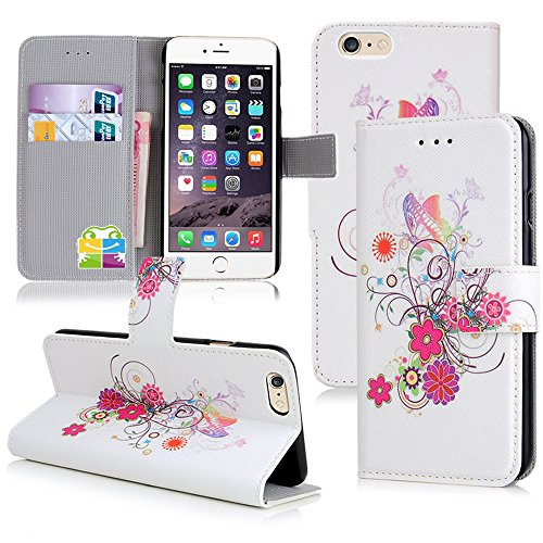 Apple iPhone 6 Handyhülle inklusive Displayfolie Lila Blumen Design 6