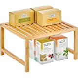 mDesign organiseur de cuisine – rangement pour étagère de cuisine pratique en bambou écologique – accessoire de rangement dur