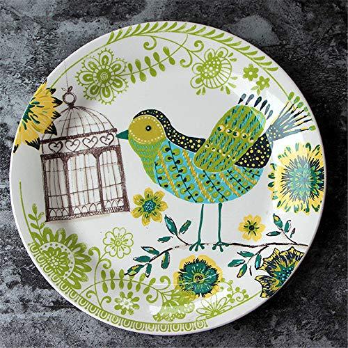 YUWANW Keramik Teller Salatteller Obstkuchen Platte handgemalten Dekor Keramik-Serie Obstschale nach Hause Stil - Red Apple Kreisscheibe
