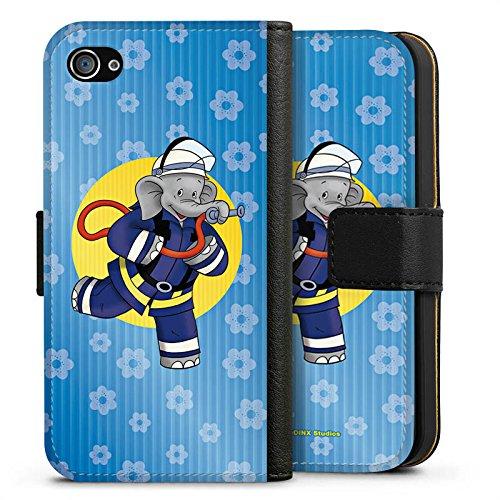 Apple iPhone X Silikon Hülle Case Schutzhülle Benjamin Blümchen Fanartikel Merchandise Feuerwehrmann Sideflip Tasche schwarz