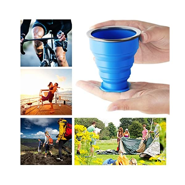 WEINAS 2 pcs Vaso de Agua de Silicona Plegable Portátil Retráctil 200ML Botella de Agua Reutilizable Taza Vaso de Viaje… 3
