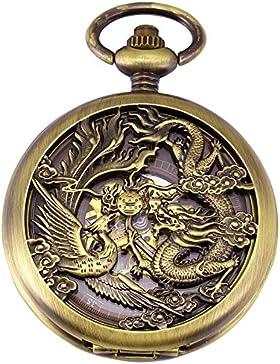 EASTPOLE Drache Skelettuhr Bronzefarben Mechanische Taschenuhr WPK230