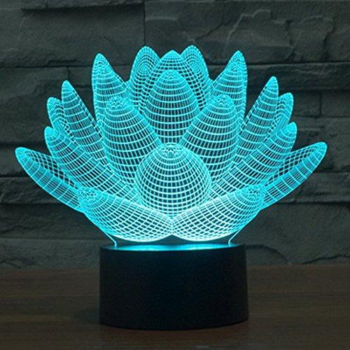 Polarlander Touch Creative Lampe 3D iLLusion Nachtlicht 7 Farben wechselnde Tisch Schreibtisch Deko Lampe Schlafzimmer Kinderzimmer Dekorative Nacht Licht (Lotus Blume)
