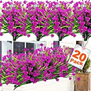 TURNMEON 20 Bundles Artificial Flowers for Outdoor Decoration, UV Resistant Faux Outdoor Plastic Greenery Shru