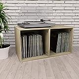 vidaXL Caja para Vinilos Aglomerado Color Roble Sonoma 71x34x36cm Mobiliario Accesorios Organización Música Colección Hobbies