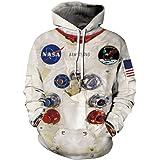 EUDOLAH Felpe da Uomo/Ragazzo/Coppia con Cappuccio e Stampa 3D NASA Astronaut e Tasca e Manica Lunga Primavera