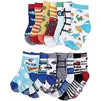 Hotbesteu 14 Pares Calcetines Antideslizantes para Niños Surtidos para Los Pies del Bebé Cómodo y Anti-frío para Bebés de 0-24 Meses de Edad