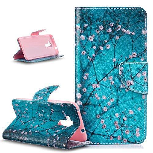 Coque Huawei Honor 5C,Etui Huawei Honor 5C, ikasus PU Portefeuille Folio Flip Wallet Coque Etui Support Fermeture Carte de crédit Case Coque Housse Etui pour Huawei Honor 5C,Fleur de prunier bleu