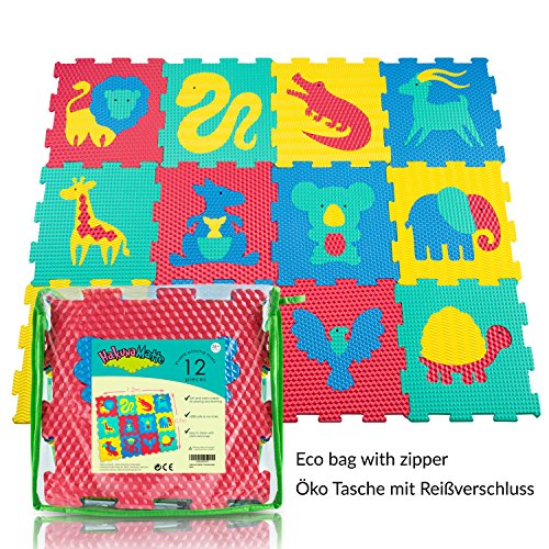 Puzzlematte für Babys und Kinder | 12 Schaumstoffplatten mit Tieren in einer Aufbewahrungstasche | TÜV geprüft