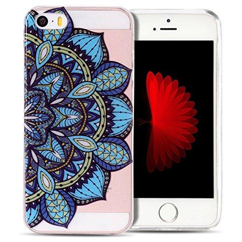 Cover iPhone 5S Spiritsun Case iPhone 5 Custodia iPhone SE Moda Ultraslim Trasparente Soft TPU Case Handy Cover High Quality Case Elegante Souple Flessibile Liscio Copertura Perfetta Protezione Shell  Fiori Blu