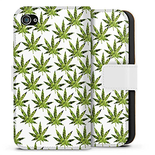Apple iPhone X Silikon Hülle Case Schutzhülle Hanfblatt Gras Weed Muster Sideflip Tasche weiß