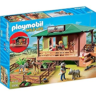 Playmobil 6936 Wildlife Ranger Station with Animal Area - Multi-color