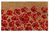 Onlymat Red Flower Natural Coir Doormat ,Flower Design,75 Cm X 45 Cm X