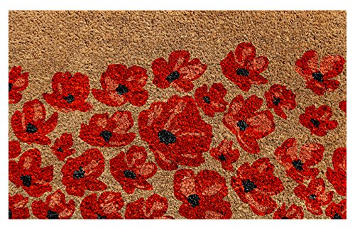 Onlymat Red Flower Natural Coir Doormat ,Flower Design,75 Cm X 45 Cm X 1.5 Cm