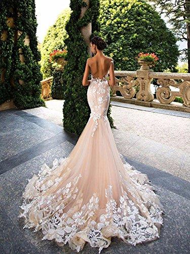NUOJIA Damen Lang Meerjungfrau Hochzeitskleider Champagner mit Blumen Appliques Tüll Brautkleider Rücken 32 - 2