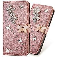 "3D Butterfly Sunflower Bling Glitter Glitzer Diamond Musterg Ledertasche Slim Retro Bookstyle mit Standfunktion Karteneinschub Magnetverschluss Flip Wallet Hülle für iPhone XS iPhone X 5,8"""