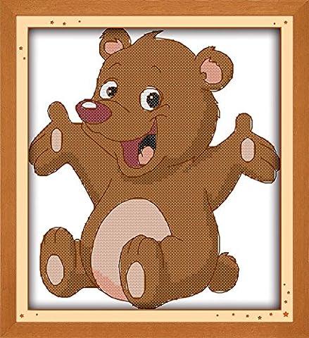 YEESAM ART Neu Kreuzstich Stickpackung - Glücklich Bär Bear Spielzeug