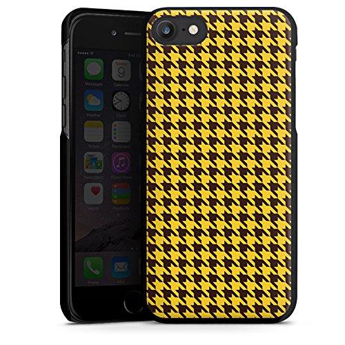 Apple iPhone X Silikon Hülle Case Schutzhülle Hahnentritt Braun Gelb Hard Case schwarz