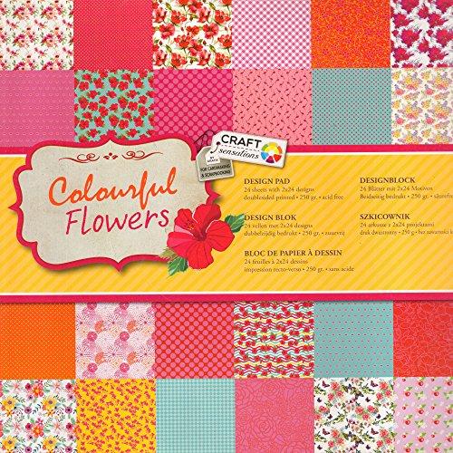 Scrapbooking Papier Vintage Motivblock (02 - Colourful Flowers) Bastelpapier 250gr/qm - 48 Motive Grösse je 30,5 cm x 30,5 cm Origami-papier, 2-seitig