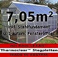 KOMPLETTSET: 7,05m² ALU Aluminium Gewächshaus Glashaus Tomatenhaus, 6mm Hohlkammerstegplatten - (Platten MADE IN AUSTRIA/EU) m. Stahlfundament 2 Fenster und 1 autom. Fensteröffner von AS-S von AS-S - Du und dein Garten