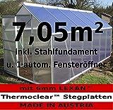 KOMPLETTSET: 7,05m² ALU Aluminium Gewächshaus Glashaus Tomatenhaus, 6mm Hohlkammerstegplatten - (Platten MADE IN AUSTRIA/EU) m. Stahlfundament 2 Fenster und 1 autom. Fensteröffner von AS-S