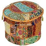 Stylo Culture Coton Patchwork Tabouret Ottoman Brodé Pouf Floral Jaune