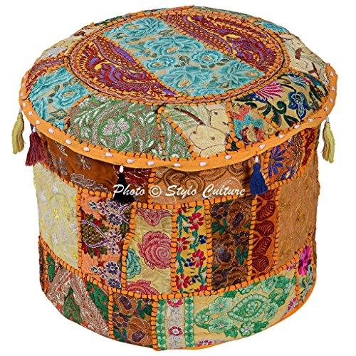 Stylo de algodón de Cultivo de Remiendo Bordado Taburete otomano Pouf de la Cubierta Amarillo Florales Bolso de Frijol