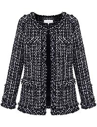 3d88772e650 BOLAWOO Manteau Femme Large Casual Classique Carreaux Cardigan Mode Chic  Élégant Printemps Automne Manches Longues Tweed