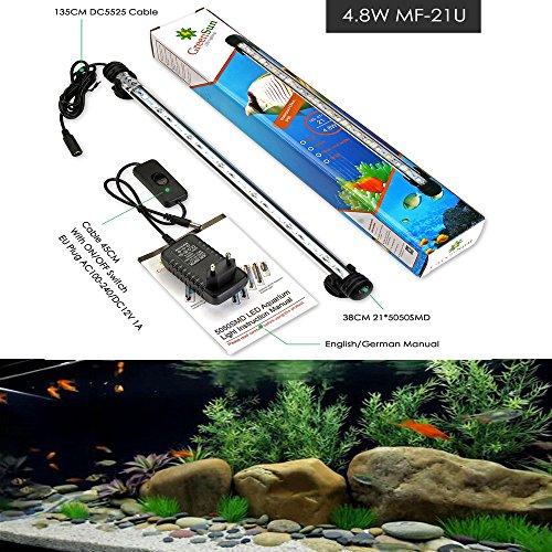 GreenSun LED Lighting 38cm Weiß Leuchte Acrylic Aquarium Lampen Beleuchtung Lampe Unterwasserlicht Wasserdicht Aufleuchten Deko für Aquarium Fische Tank (Fisch Aquarium Lampe)