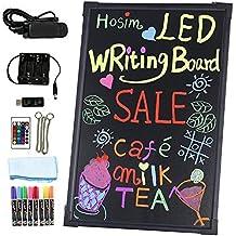 """Hosim 24"""" x 16"""" Intermitente señal luminosa borrable neón LED Mensaje del tablero de escritura del menú del restaurante (7 colores del control remoto RGB 28 Intermitente-Mode, controlador USB, cadena de metal para colgar, lavable Borrador Tela)"""