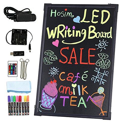 LED Schreibtafel Hosim, 60cm x 40cm beleuchtet Erasable Neon-Effekt Restaurant Menü Schild mit 28 Blinkmodus-Fernbedienung, 7 Farben und blinkende Mode DIY Tafel für Küche Hochzeit Bar Tafel