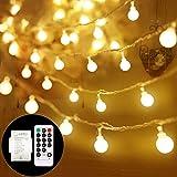 SPECOOL Catena Luminosa, Luci Natalizie da Esterno ed Interno con 100LED 8 modalità Flash Impermeabile,Bianco caldo Luci Stri