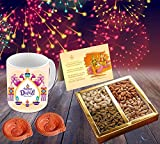 #2: Happy Diwali Superior quality ceramic Mug Capacily (350) ML , Greeting Card, Hand Made Diya and Dry fruits by Aart Store