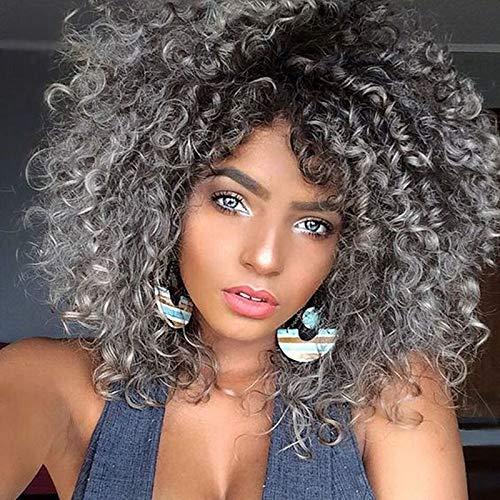 lockiges Haar Perücken für schwarz Frauen, natur grau Haar Perücken für schwarz Frauen, gelockt Perücke, lockiges Afro Perücken Echthaar Kurz flauschig, gewellt, volle Synthetik Perücken 30,5cm 200g (ws727)