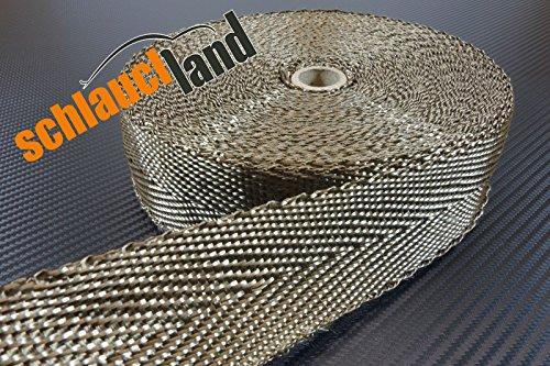 10m Basalt Hitzeschutzband 50mm 1400°C SCHLAUCHLAND*** Auspuffband Thermoband Krümmerband Heat Wrap Basaltfaser Isolierband Hitzeschutz