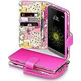 LG G5 Tasche, Terrapin Handy Deluxe Leder Brieftasche Case Hülle mit Kartenfächer für LG G5 Hülle Pink mit Blumen Interior