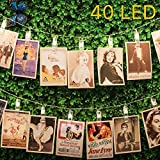 Clips String Lights, Photo Hanging Lights, USB Powered 16.4ft 40 LED With 8 Remote Control Lighting Modes - Perfect For Hanging Pictures Cards Notes Artwork Any Scene Decor Display (warm White)