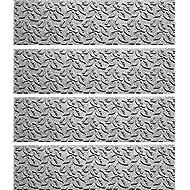 Bungalow Flooring Aqua Shield Dogwood Leaf Stair Treads, Set of 4, Medium Grey