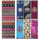 Yoga asciugamani–Fremous stampato tappetino antiscivolo asciugamani con angolo tasca design (182,9x 63,5cm)–ideale per yoga, fitness, pilates, sport e tempo libero, folk-custom