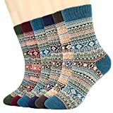 Tencoz Wollsocken für Damen Männer Warme Dicke Bunte Farben Wollsocken Winter Wolle Damen Socken Bunte Gemusterte Stricksocken - 6pack