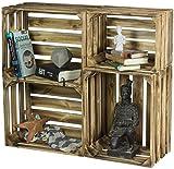 LAUBLUST 4er Set Vintage Holzkisten - Kisten in 2 Größen, 50x40x30cm / 40x30x25cm, Geflammt, Unbenutzt | Möbel-Kiste | Wein-Kiste | Obst-Kiste | Apfel-Kiste | Deko-Kiste aus Holz