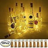 Pawaca 10x 20 LED Flaschenlicht Kupferdraht Cork Form Der LED Nacht Licht Weinflasche, 2m Silber Coated Kupferdraht Flaschenlichter für Flasche DIY, Weihnachten Hochzeit und Party