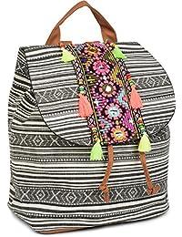 styleBREAKER Rucksack Handtasche Ethno Style mit Stickung, Perlen und Quasten, Tasche, Damen 02012246