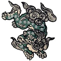 Komainu Guard Dog Patch Embroidered Badge Iron On Sew On Emblem