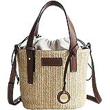 Stroh Strand Tasche, Stroh Handtasche,Stroh Handtasche mit Webmuster Tunnelzugverschluss Frauen Strandtasche Crossbody Tasche