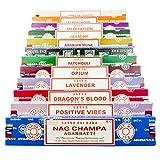 Nag Champa VIELFALT MIX Geschenk-Set C 12 x 15 g Boxen von Räucherstäbchen, enthält Nag Champa, Super Hit, Positive Vibes, Patchouli Agarbatti, weißer Salbei, Opium, Sandelholz agarbatti, Dragons Blood, Meditation, Jasmin, Lavendel, Arabian Moschus -