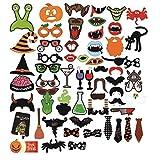 Ktroman Halloween Cosplay Photo Booth Requisiten 59 Stücke DIY Kit Lustige Dress-up-Zubehör für Party-Reunions Karneval
